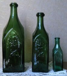 Collection Bono Optimum Antique 19 Th Century Bottle Old Green Glass