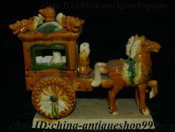 13 Antique Old Chinese Ceramics Porcelain People Ride Horse Pull Vehicle Statue