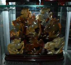 100 Natural Red Agate Hand-carved 8 Horse Mountain Exquisite Statue Set