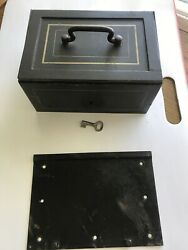 Bash Hnos And Ca Vintage Safe Lock Box Buenos Aires 951. With Key And Bottom Plate