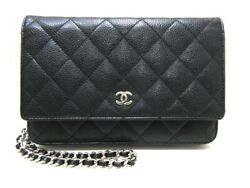 Auth CHANEL Matelasse A33814 Black Caviar Skin Other Style Wallet