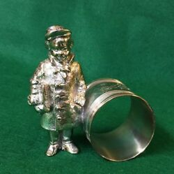 Silver Plate Napkin Ring Newspaper Boy Large Size Excellent Condition