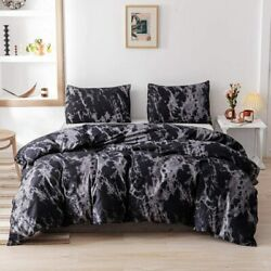 Smoofy Queen Comforter Set Black Marble Pattern Printed Bed Comforter Soft Fab