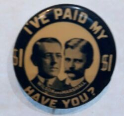 1912 Woodrow Wilson And Marshall Jugate Button Pin 1 1/4 Wil 3
