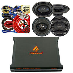 Gravity P-1400.4 1400w 4-ch Amp + 4x Coaxial Speakers 6.5 6 X 8 + 4-ch Kit