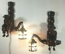 French Pair Antique Wall Sconces Carved Wood Breton Statues Black Forest Lamps