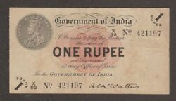 British India King George V Banknote - 1 Rupee - 1917 - Kgv P 1 - A C Mcwatters