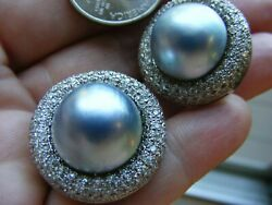 14k White Gold Huge Grey Blue Mabe Pearl 4ct Pave Diamond Earring Omega Back 33g