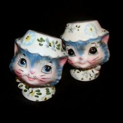 Vintage Lefton Miss Priss Kitty Cat Salt And Pepper Shakers - Pretty Blue Set