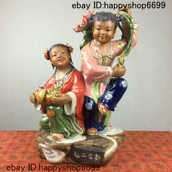 Old China Color Porcelain Kid Babe Child Bairn Boy Two Immortals Ornament Statue