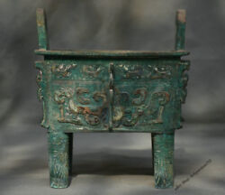 9 Chinese Dynasty Palace Old Antique Bronze Beast Face 4 Foot Ding Pot Censer