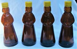 4 Vtg Mrs Butterworth's Amber Brown Glass Syrup Bottles 12 Oz 8 1/2 Tall W/tops