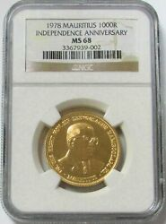 1978 Gold Mauritius 1000 Minted 1000 Rupee Independence Anniversary Ngc Ms 68