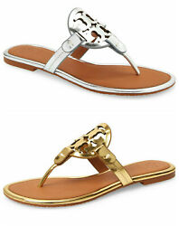 Nib Miller Leather Sandals Mirror Silver Gold Tan Us 6 - 9.5 Authentc