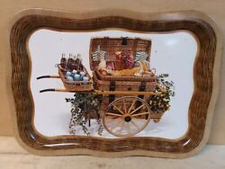 Vintage 1950's Coca Cola Tv Tray With Pull Cart And Picnic Basket