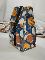 Boys Lunch Bag Tote Box Kids Double Layer Insulated baseball football soccer $9.95