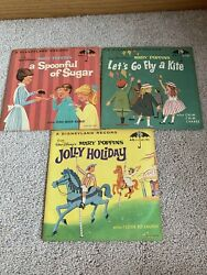 Lot Of 3 Vtg Children's Disney Records 45 Rpm Spoonful Of Sugar Jolly Holiday