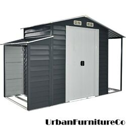 3In1 Galvanized Steel Multi-Use Shed w Separate Firewood Storage Open Extension