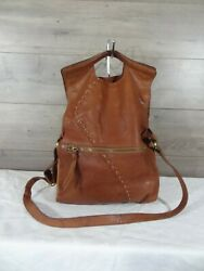 Lucky Brand Abbey Road Foldover Brown Leather Crossbody Shoulder Bag Tote Purse  $24.99