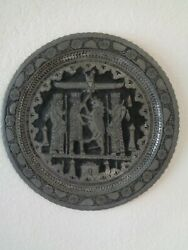 Persian Middle East Hand Chased Silver Over Copper 19 Tray Plate Wall Hanging
