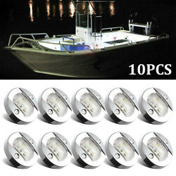 10x 3 Marine Boat Rv Round 6 Led Courtesy Lights Cabin Deck Light White 12v-24v
