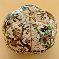 Vintage Chinese China Cloisonne Enamel Cooper Trinket Snuff Pill Box Hand Made