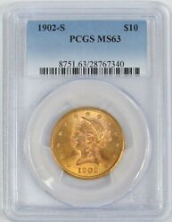 1902 S Gold Us 10 Liberty Head Eagle Coin Pcgs Mint State 63
