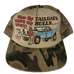 Vintage 70s Camo When The Tailgate Drops Bs Stops Mesh Trucker Cap Hat Usa Made