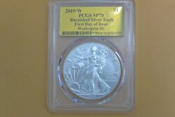 2019 W Burnished Silver Eagle Pcgs Sp70 Gold Foil First Day Of Issue Washington