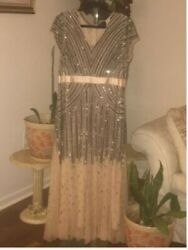 Ashro Silver Beaded Champagne Pink Evening Gown Size 16 $45.00