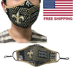New Orleans Saints NFL Football Quality Fabric Face Mask Washable Cotton USA  $10.95