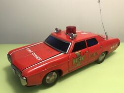 Fire Chief Chevrolet Impala Tin Toy Vintage Japan Bump And Go Car Light And Siren
