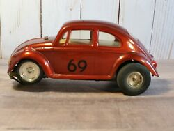 Vintage 1960and039s Volkswagen Beetle Slot Car Lexan Body 124 Scale 69 Red Vw Bug