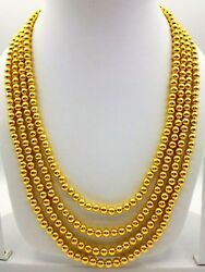 Vintage Ethnic Necklace 22k Yellow Gold Ball Chain 4 Line Bead Tribal Necklace