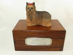 Beautiful Paulownia Small Wooden Personalized Urn w Yorkshire Terrier Figurine