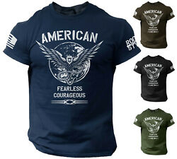 American Men#x27;s T Shirt Fearless Courageous USA Warrior Tee Rogue Style $14.90