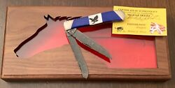 Case Xx Custom Eagle Inlay Painted Pony Damascus Trapper Knife