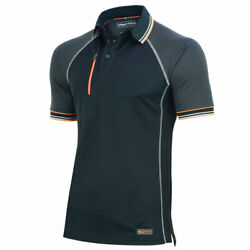 Men Workandnbsppolo Tandnbspshirt Core-active 2-tone Black And Grey Regular-fit Extra Large