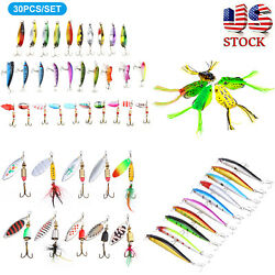 5/10/30pcs Fishing Lures Metal Spinner Baits Bass Tackle Crankbait Trout Spoon
