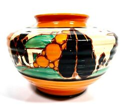 Antique Clarice Cliff Fantasque Tress And House Kidney Vase / Art Deco Pottery