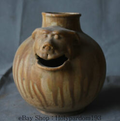 7.6 Antique Old China Dynasty Pottery Ceramics Hand Carved Beast Zun Wine Pot