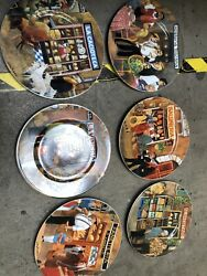 Eschenbach Guy Buffet Tuscan Storefronts 10.75 La Vineria Dinner Plate Lot Used