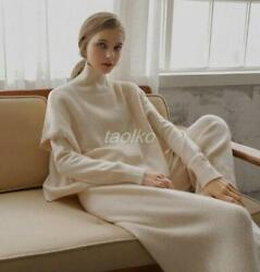 Womens Cashmere Wool 3pcs Suits Knitted Sweater +wide Leg Pants Sets Vest Spring
