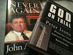Lot Of 2 Never Again By John Ashcroft 2006 And God On Trial Peter Irons 2007 Euc