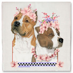 American Staffordshire Terrier Amstaff Dog Floral Kitchen Dish Towel Pet Gift