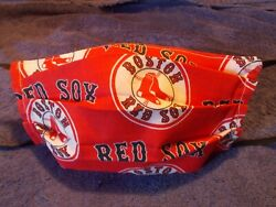 Adult Size Handmade Pleated Cotton Face Mask with Boston Red Sox Design $4.00