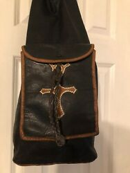 Vintage Leather Shoulder Bag With Cross Design $50.07