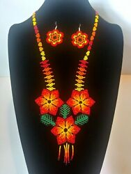 Huichol Beads,mexican Women's Necklace And Earrings Multi-flower, Chaquira Beads