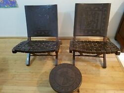 1960s Peruvian Tooled Brown Leather Folding Chairs 2 W Matching Stoolandnbspandnbsp