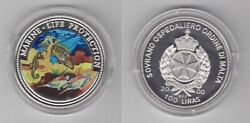 Order Of Malta Colored 100 Pounds Lira 2000 Year Marine Life Protection Fish